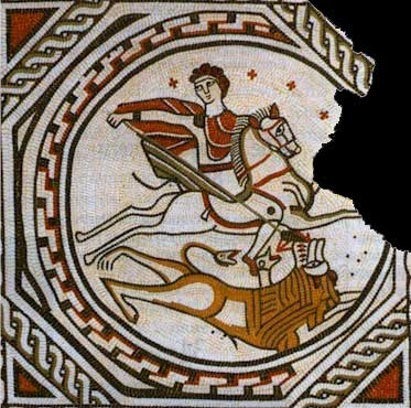 Bellerophon kills the Chimaera. Fragment of a mosaic from Croughton, Northamptonshire (painting by David S. Neal).